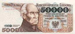 Poland 50.000 Zlotych, P-153 (1.12.1989) - UNC - 1 Letter Prefix - RARE - Polen