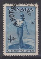 CANADA:   Le  4 C. Bleu, Oblitéré - 1952-.... Règne D'Elizabeth II