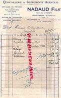 16- MONTBRON- FACTURE NADAUD FILS- QUINCAILLERIE INSTRUMENTS AGRICOLES- RUE DE LIMOGES- 1935 - Old Professions