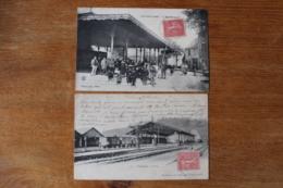 2 Cpa Aveyron Capdenac  Gare     Le Marche Couvert Et La Gare Animées - Autres Communes