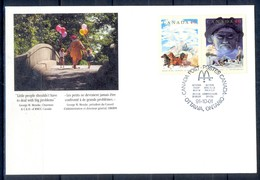 X159- FDC Of Canada. Animals. Child. Tree. Painting. - Canada