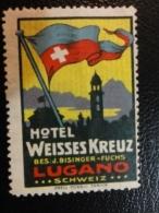 LUGANO Hotel Weisses Kreuz Flag Turisme Tourism Vignette Poster Stamp Label Suisse Switzerland - Schweiz