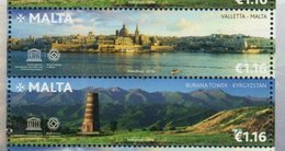 MALTA , 2018, MNH,JOINT ISSUE WITH KYRGYZSTAN, MOUNTAINS, BOATS, VALLETTA, 2v - Joint Issues