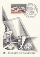 CARTE PREMIER JOUR - JOURNEE DU TIMBRE 1966 - BECQUET - CACHET MONTPELLIER - FDC - FDC
