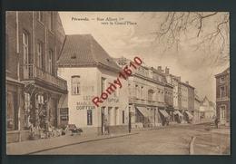 Péruwelz.  Rue Albert 1er. Bazar Parisien, Léon Marlier Coiffeur, Café, Pharmacie. 2 Scans. - Péruwelz