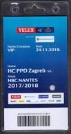 Croatia Zagreb 2018 / Handball / Accreditation / VIP / HC PPD Zagreb - HBC Nantes - Handball