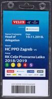 Croatia Zagreb 2018 / Handball / Accreditation / Head Of Delegation / HC PPD Zagreb - RK Celje Pivovarna Lasko - Handball