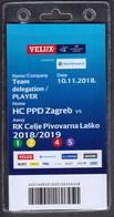 Croatia Zagreb 2018 / Handball / Accreditation / Team Delegation - Player / HC PPD Zagreb - RK Celje Pivovarna Lasko - Handball
