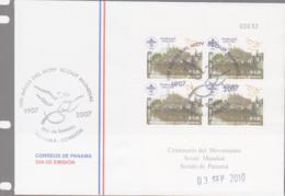 SCOUTS -  PANAMA - 2010 - SCOUTS SHEETLET OF 4 ON ILLUSTRATED FDC - Scoutisme