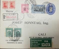 O) 1929 CIRCA-COLOMBIA, AIRMAIL  VIA SCADTA -TRIPLE FRANQUE-PORTE OF THREE COUNTRIES: ECUADOR SCADTA OVERPRINT R BLACK S - Uruguay