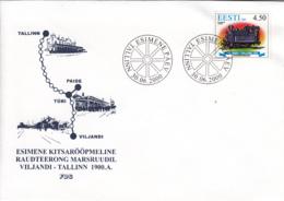 Estonia 2000 FDC Sc #397 4.50k Viljandi-Tallinn Railway Centenary - Estonie