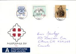 Estonia To Canada 2001 FDC Sc #421 6.50k St Mary's Land 800th Anniversary - Estonie