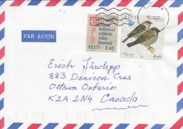 Estonia To Canada 2002 Sc #393 3.60k Book Year, #435 4.40k Sparrows - Estonie