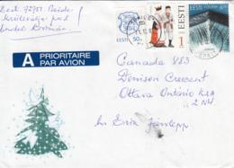 Estonia To Canada 2001 Sc #415 6.50k EUROPA, #276 1k Jamaja, #216 50s Arms Posted Paide - Estonie