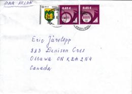 Estonia To Canada 2018 55c Saue Arms, (2) Sc #721 65c Post Horn Posted Viimsi - Estonie
