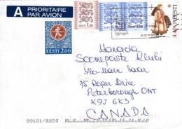 Estonia To Canada Sc #427 4.40k Paistu Costume, #372 Pair Lions, #375 1k Lions, #267 2k Tallinn Festival - Estonie