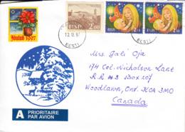 Estonia To Canada 1997 Sc #245 2k Tallinn Castle, #313 (2) 2.50k Mother , Child Christmas Posted Parnu - Estonie