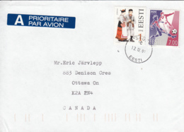 Estonia To Canada 2001 Sc #341 7k World Cup Soccer, #276 1k Jamaja Costume Posted Saue - Estonie