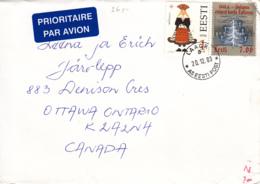 Estonia To Canada 2003 Sc #384 7k Christmas Tree, #277 1k Mustjala Costume Posted Laagri - Estonie