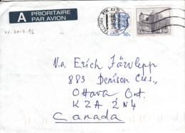 Estonia To Canada 1996 Sc #252 4k Kuessaare Castle, #216 50s Arms Posted Tallinn - Estonie