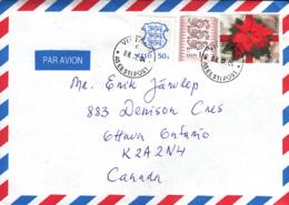 Estonia To Canada 2004 Sc #500 6.50k Poinsetta Christmas, #375 1k Lions,  #216 50s Arms Posted Viljandi - Estonie