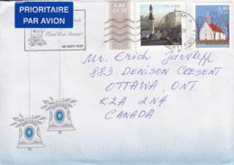 Estonia To Canada 2006 Sc #553 4.40k St Lawrence's Church, #546 4.40k Posthorns Posted Tallinn - Estonie