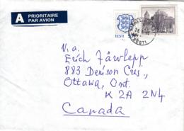 Estonia To Canada 1996 Sc #252 4k Kuressaare Castle, #216 50s Arms Posted Tallinn - Estonie