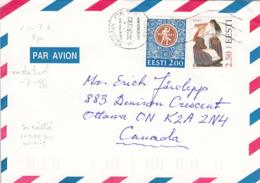 Estonia To Canada 1996 Sc #304 2.50k Reigi Costume, #267 2k Festival Emblem Posted Tallinn - Estonie