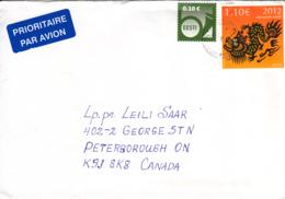 Estonia To Canada 2012 Sc #693 1.10E Year Of The Dragon, #682 10c Posthorn Posted Haapsalu - Estonie