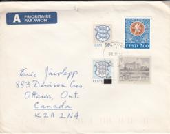 Estonia To Canada 1994 Sc #217 60s On 15k, #216 Arms, #244 1k Toolse Castle, #267 2k Festival Emblem - Estonie