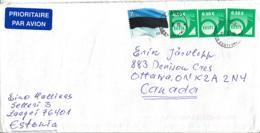 Estonia To Canada 2017 Sc #724 1E Flag, (3) 10c Posthorn Dated 2014 Posted Laagri - Estonie