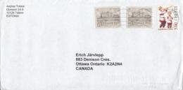 Estonia To Canada 1999 Sc #244 (2) 1k Toolse Castle, #370 Setu Man, Boy Posted Tallinn - Estonie