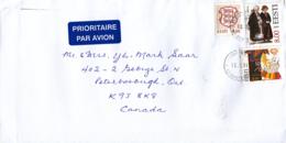 Estonia To Canada 2011 Sc #321 4.80k Goldspinners EUROPA, #340 4.50k Arms, #401 8k Polva Costume - Estonie