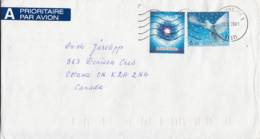 Estonia To Canada 2001 Sc #429-#430 Snowflake, Dove Christmas - Estonie