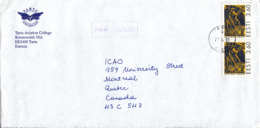 Estonia To Canada 19995 Sc #349 Pair 3.60k Juhan Jaik, Author Posted Tartu - Estonie