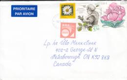 Estonia To Canada 2011 Sc #666 58c Peony, #586 5.50k Ernesaks, Composer, #659 5c Posthorn, #560 30c Daisy - Estonie