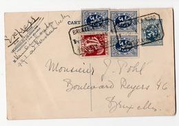 Entier & Express Avec Timbres Annulés Par Cachets Rectangulaires Bruxelles Nord 1935 - Stamped Stationery
