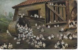 CPA FANTAISIE - Illustration De Centaine De Bebes Sortant De Coquilles D'oeufs Dans Un Poulailler - Scènes & Paysages
