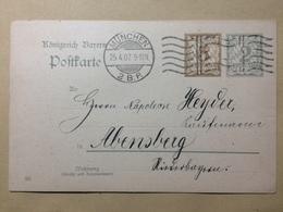 GERMANY - Bavaria 1907 Postkarte 5pf Rate Munchen To Abensberg - Bayern (Baviera)