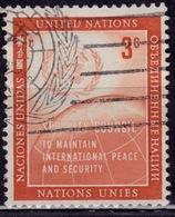 United Nations, 1957, UN Emblem And Globe, 3c, Sc#55, Used - New York – UN Headquarters