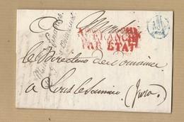 LAC Ministère Des Finances Gestion Des Domaines Affranchi Par état De Lons Le Saunier Du 2 Février 1829 - 1801-1848: Precursors XIX