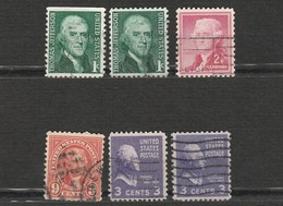 Etats Unis - USA Lot 6 Timbres Thomas Jefferson - Année 1968 Mi US 940 - 1968 Mi US 654 - 1923 Mi US 271- 1938 Mi US 414 - Persönlichkeiten