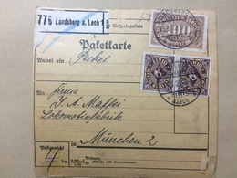 GERMANY - 1923 Bulletin D`expedition - Landsberg To Munchen Munich - Multi-stamped Both Sides - Allemagne