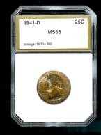 UNITED STATES 1941-D Washington Quarter PCI68 GEM BU Uncirculated Awesome Toning! - Federal Issues