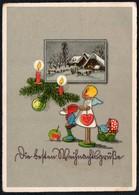 C2775 - Glückwunschkarte - Weihnachten - Engel Angel Zwerg Kerze Tannenzweig - Non Classificati