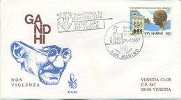 SAN MARINO - FDC  VENETIA 1987 - MAHATMA GANDHI - VIAGGIATA - FDC