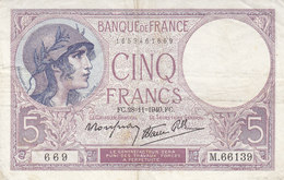 Billet 5 F Violet Du 28-11-1940 FAY 4.15 Alph. M.66139 - 5 F 1917-1940 ''Violet''