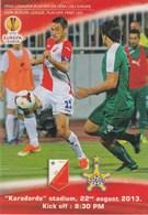Programme FC FK Vojvodina Novi Sad  FC Sheriff Tiraspol Moldova 2013. Football Match UEFA Europa League - Match Tickets