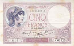 Billet 5 F Violet Du 28-9-1939 FAY 4.10 Alph. N.63625 1 épinglage - 5 F 1917-1940 ''Violet''