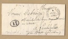 LAC Chambre Des Pairs 4 Juillet 1844 Pour Lembézellec (finistère) MP Décime Rurale Verso TAD Brest - 1801-1848: Precursors XIX